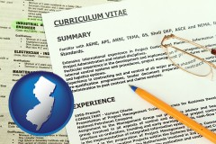 new-jersey map icon and a curriculum vitae and job resume