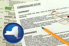 new-york map icon and a curriculum vitae and job resume