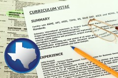 texas map icon and a curriculum vitae and job resume