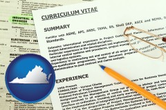 virginia map icon and a curriculum vitae and job resume